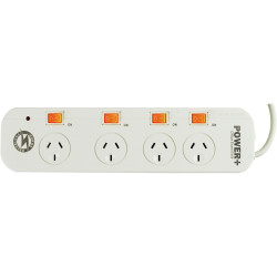 Powerplus 4 Outlet Powerboard Individual Switch Surge And Overload Protection