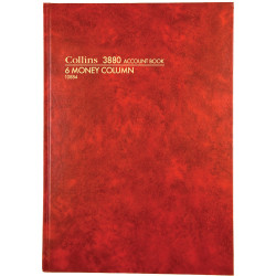 Collins Account 3880 Series A4 6 Money Column Red