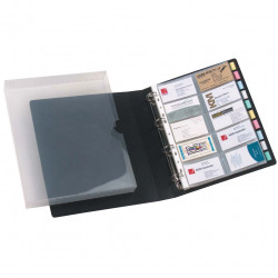 Marbig Business Card Book Case 4 D Ring 500 Capacity Black Compatible Refill 25715