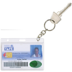 Rexel Rigid Id Card Holders Fuel Card with Key Ring Clear Pack Of 10