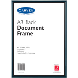 Carven Certificate Frame A3 Wall Mountable Black