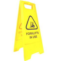 Cleanlink A-Frame Safety Sign Forklifts In Use 320x310x650mm Yellow