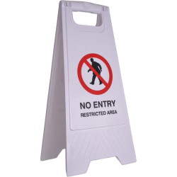 Cleanlink A-Frame Safety Sign No Entry Restricted Area 320x310x650mm White